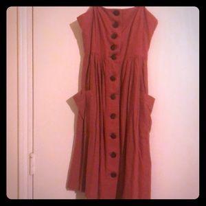 Button-up Spaghetti strap dress w/pockets